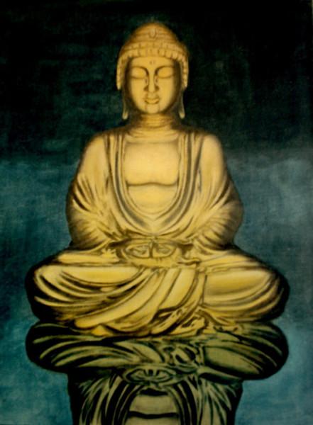Statue, Figur, Buddah, Malerei, Gold,