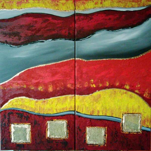 Abstrakt, Malerei, Rot, Orange, Gelb