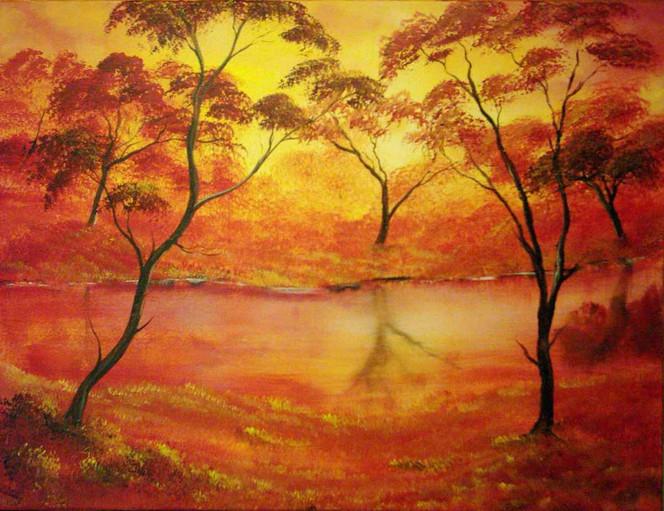 Wald, Herbst, Orange, Flusslandschaft, Landschaft, Baum