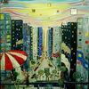 Leben, Malerei, Straße, Hochhaus