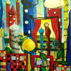 Abstrakt, Malerei, Stadt, Bunt