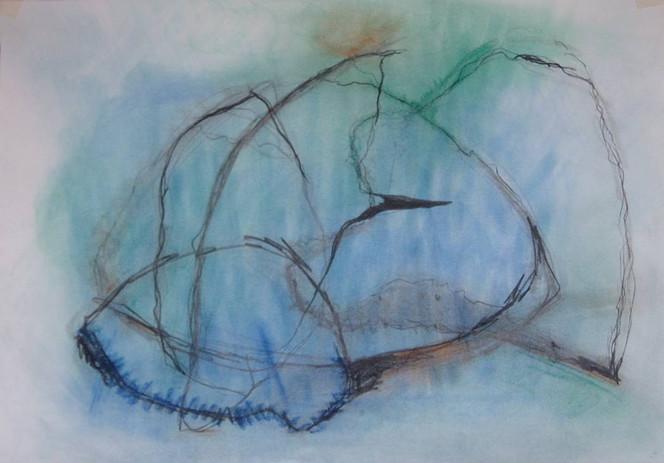 Malerei, Stille, Blau, Tief, Ruhe, Wasser