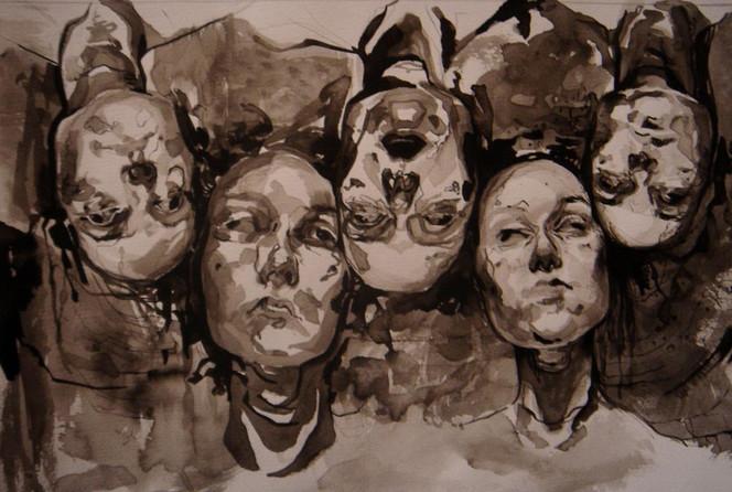 Schielen, Kopf, Tuschmalerei, Kette, Kopfüber, Zeichnungen