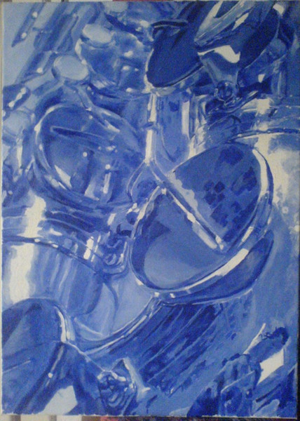 Saxofon, Stillleben, Fotorealismus, Malerei, Ausschnitt