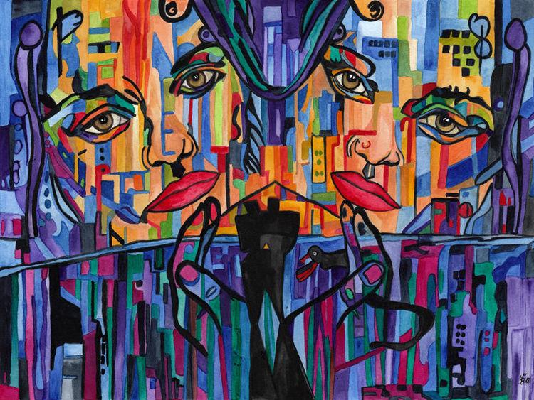 Individualität, Imitation, Nachahmung, Aquarell
