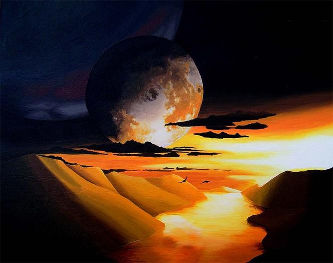 Planet, Acrylmalerei, Landschaft, Sonnenuntergang, Malerei