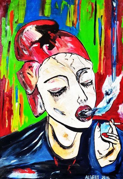 Frau, Rauchen, Malerei