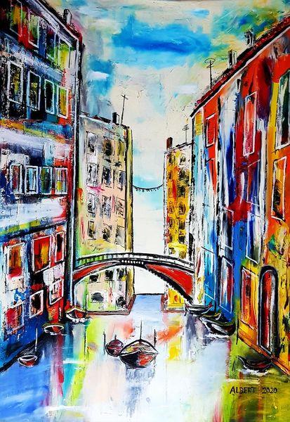 Fischer, Kanal, Venedig, Italien, Boot, Malerei