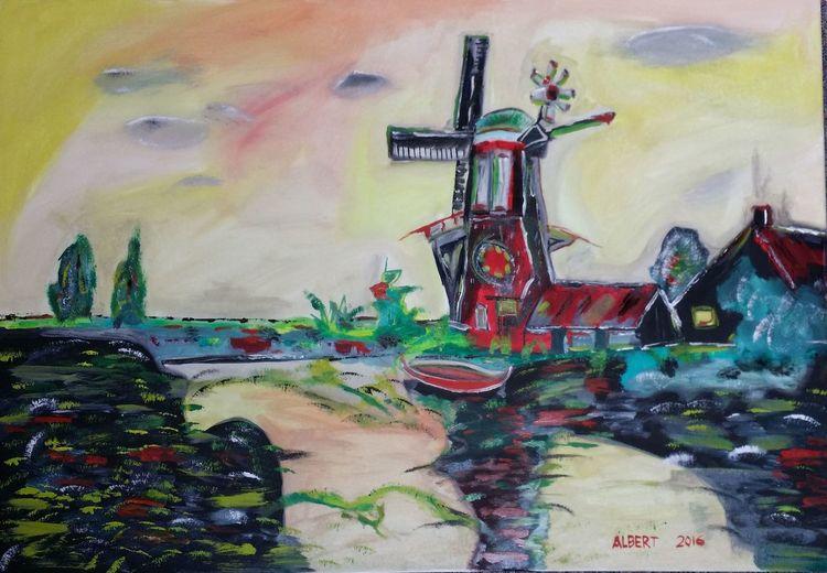 Abstrakt, Mühle am fluß, Farben, Malerei, Mühle