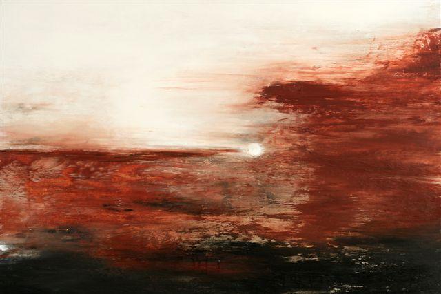 Weiß, Abstrakt, Malerei, Landschaft, Sienna, Terra