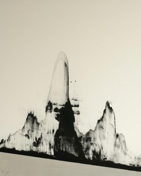 Schwarz weiß, Abstrakt, Japan, Malerei, Berge, Silber