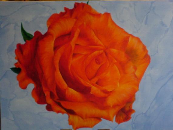 Rose, Acrylmalerei, Blau, Orange, Realismus, Malerei