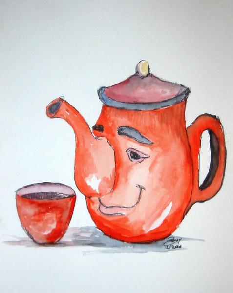 Tasse, Illustration, Kanne, Kind, Malerei, Tee