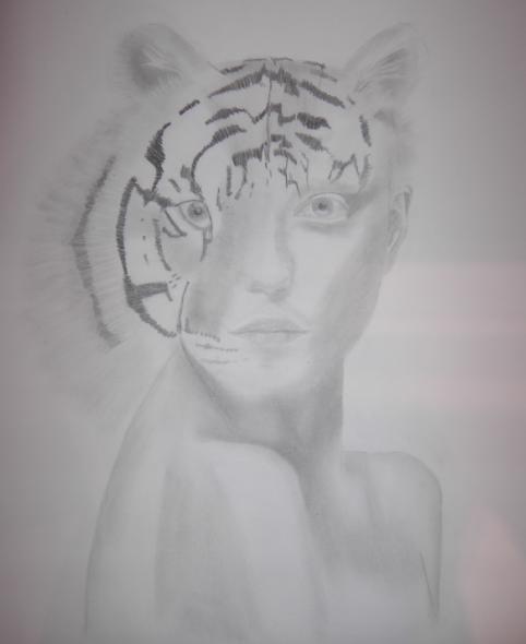 Portrait, Frau, Tiger, Surreal, Zeichnung, Zeichnungen