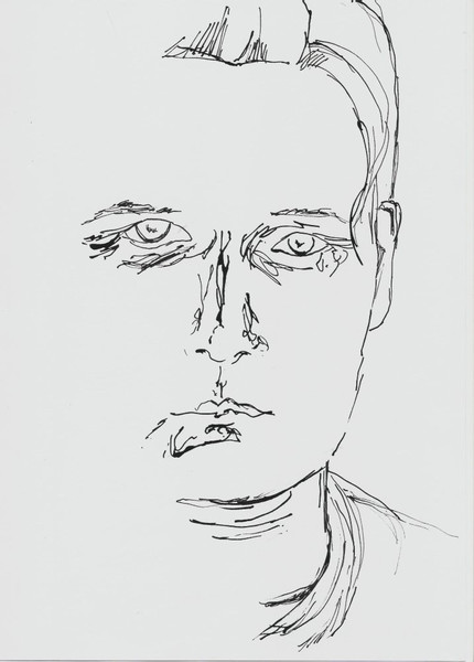Selbstportrait, Tusche, Zeichnung, Skizze, Bambusfeder, Zeichnungen
