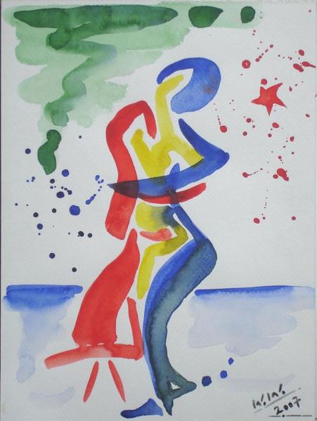 Zärtlichkeit, Liebe, Sympathie, Abstrakt, Malerei, Umarmung