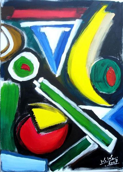 Malerei, Abstrakt, Vogel, Nacht