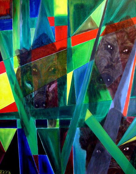 Tiere, Wildschwein, Strauch, Ölmalerei, Malerei, Dickicht