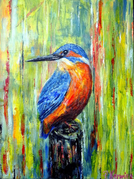Eisvogel, Acrylmalerei, Vogel, Malerei