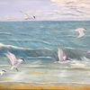 Ölmalerei, Brandseeschwalben, Vogel, Meer