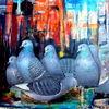 Stadt, Ölmalerei, Taube, Malerei