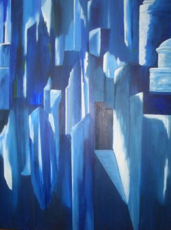 Kulisse, Abstrakt, Malerei, Stadt, Blau, Weiß