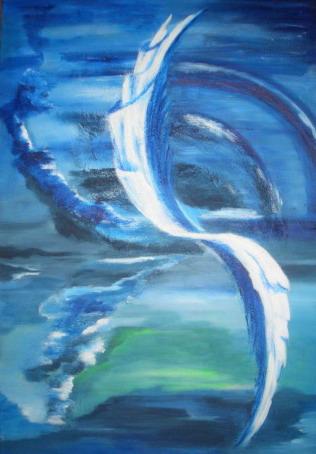 Malerei, Abstrakt, Schwingung, Blau, Fantasie, Weiß