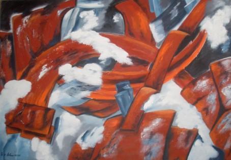 Rostig, Weiß, Teil, Abstrakt, Grau, Malerei