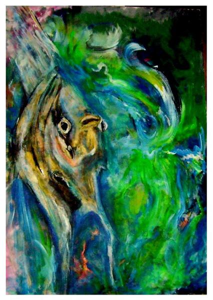 Malerei, Fisch, Grün, Abstrakt, Tiere