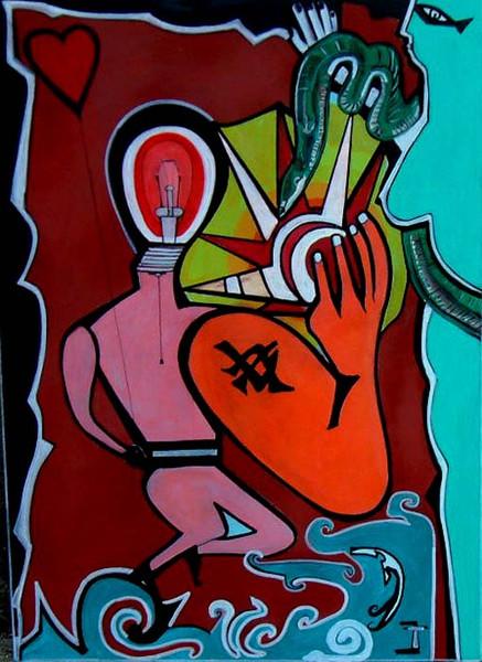 Adam und eva, Grateneden, Malerei, Surreal