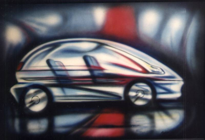 Airbrush, Glas, Magenta, Auto, Blau, Fahrzeug