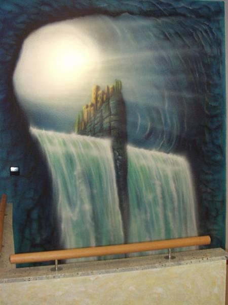 Treppenabgang, Airbrush, Wandmalerei, Türkies, Malerei, Wasserfall