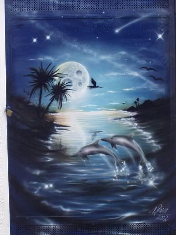 Lack, Airbrush, Blau, Palmen, Matall, Delfin