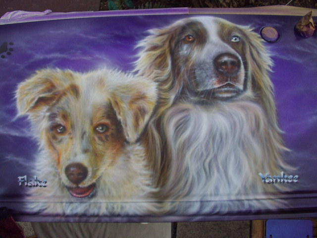 Heckklappe, Hundeportrait, Metall, Tiere, Airbrush, Malerei
