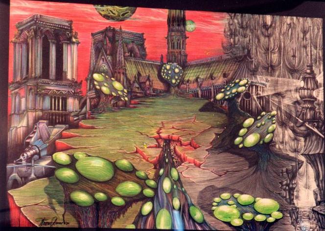 Grün, Buntstiftzeichnung, Gebäude, Surreal, Malerei, Handlung