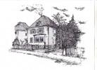 Federstich, Federzeichnung, Wohnhaus, Zeichnung