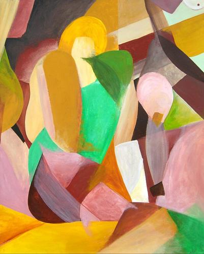 Abstrakt, Akt, Malerei, Geometrisiert