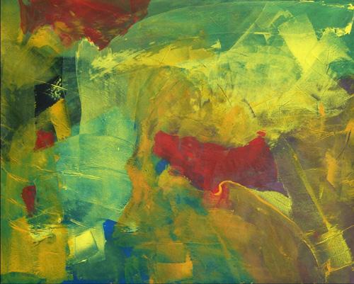 Abstrakt, Rot schwarz, Malerei, Gelb, Blau, Rakeltechnik