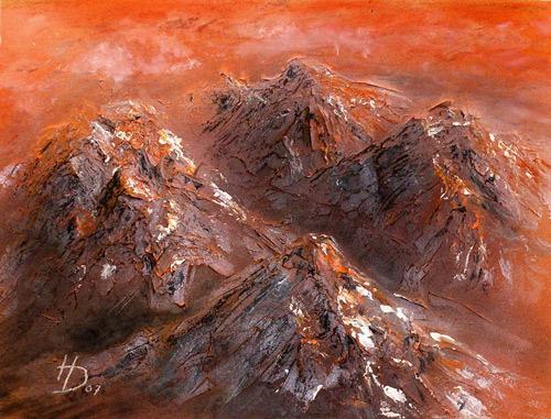Landschaft, Malerei, Struktur, Rot, Berge, Orange