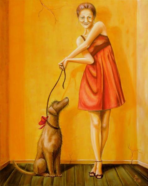 Aufgeregt, Frau, Verlegen, Hund, Datum, Schleife