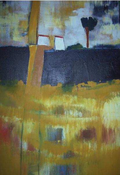 Malerei, Fluss, Häuser