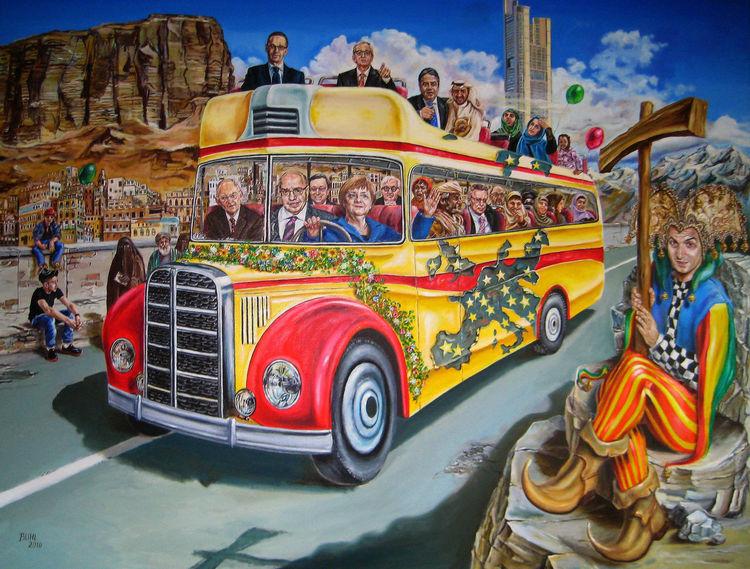 Europa, Omnibus, Zeitgenössisch, Zeitgenössische malerei, Malerei, Globalisierung