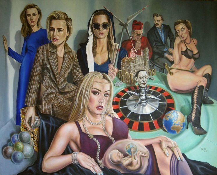 Philosophie, Roulette, Visionäre malerei, Globalisierung, Spiel, Modern