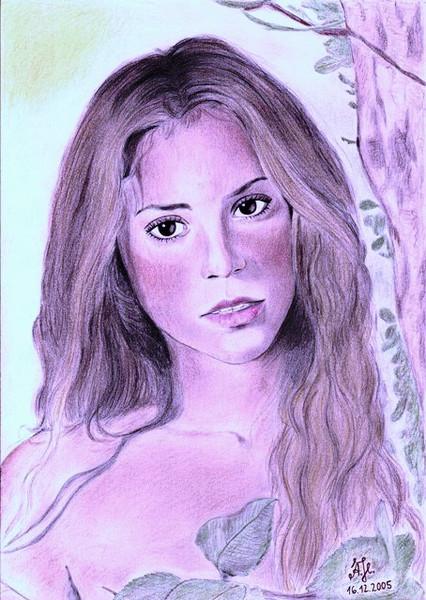 Zeichnung, Portrait, Zeichnungen, Glück, Cd, It