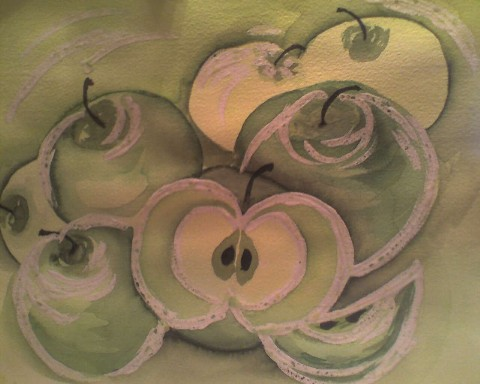 Rubbelkrepp, Grafik, Grün, Aquarellmalerei, Apfel, Aquarell