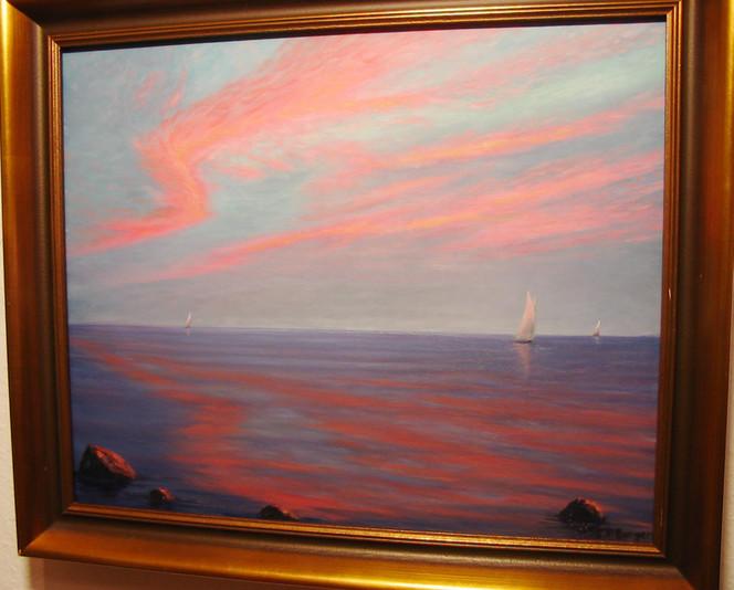Abendstimmung, Marinemalerei, Segelschiff, Segelboot, Malerei, Landschaft