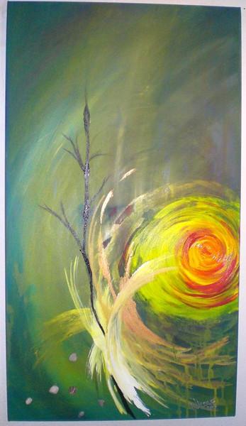 Abstrakt, Natur, Malerei, Grün, Acrylmalerei