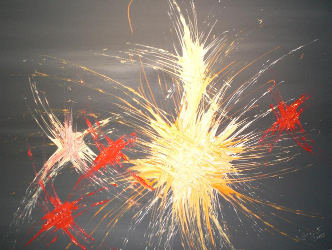 Malerei, Feuerwerk, Acrylmalerei, Rot schwarz, Abstrakt