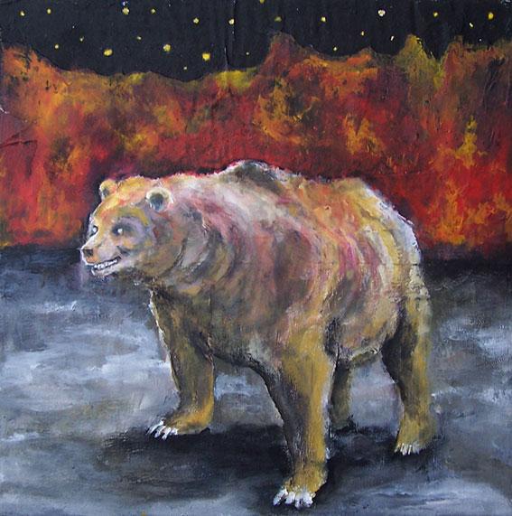 Bär, Nacht, Flammen, Malerei,