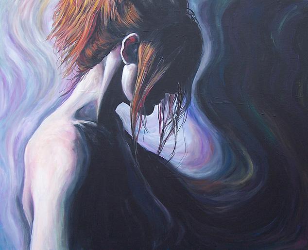 Malerei, Schatten, Rot, Haare, Frau, Menschen